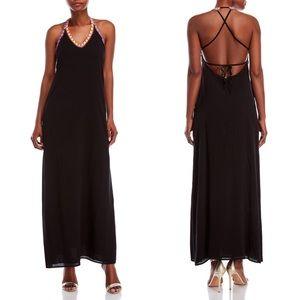 PilyQ Midnight Gold Stitch Maxi Dress Black Neon S